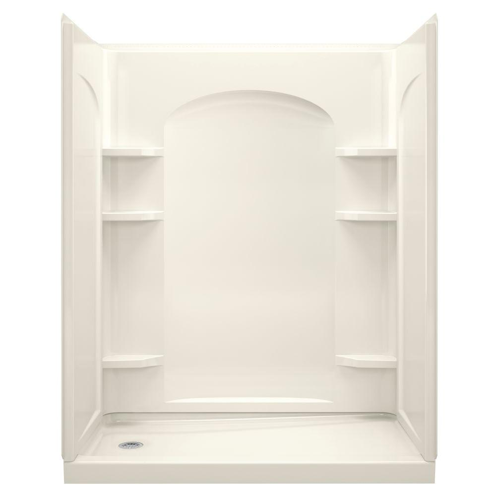 STERLING Ensemble 30 in. x 60 in. x 75-1/4 in. Curve Shower Stall in Biscuit