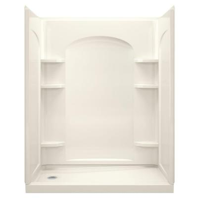 Ensemble 30 in. x 60 in. x 75.25 in. Shower Kit in Biscuit with Backer Boards