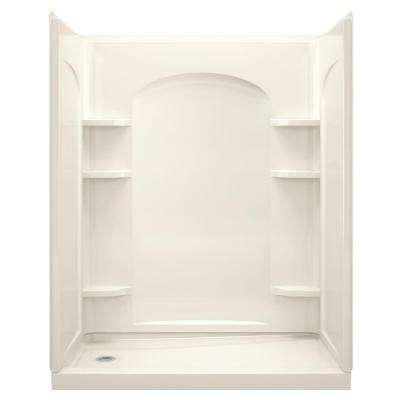 Ensemble 30 in. x 60 in. x 75-1/4 in. Curve Shower Stall in Biscuit