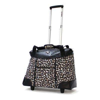 Deluxe Fashion Cheetah Rolling Tote