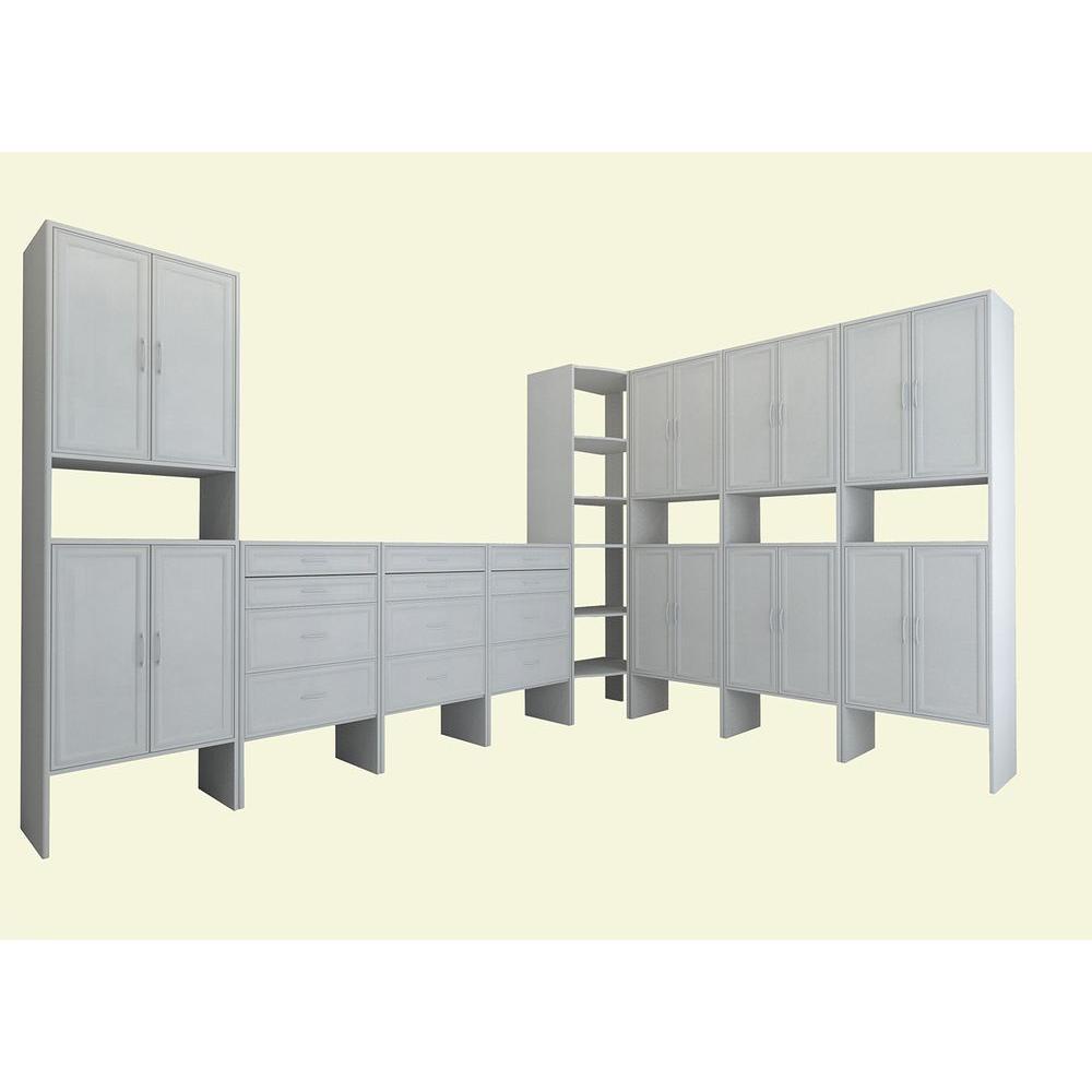 18 ft. 14.57 in. D x 206.75 in. W x 83 in. H White Media Room Wood Closet System