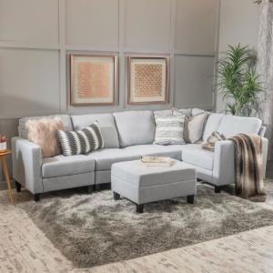 Fine Noble House 6 Piece Light Gray Fabric Sectional And Ottoman Uwap Interior Chair Design Uwaporg