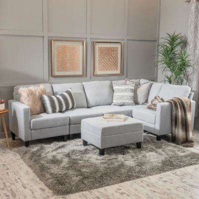 6-Piece Light Gray Fabric Sectional and Ottoman Set