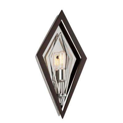 Javelin 1-Light Bronze and Polished Stainless Wall Sconce