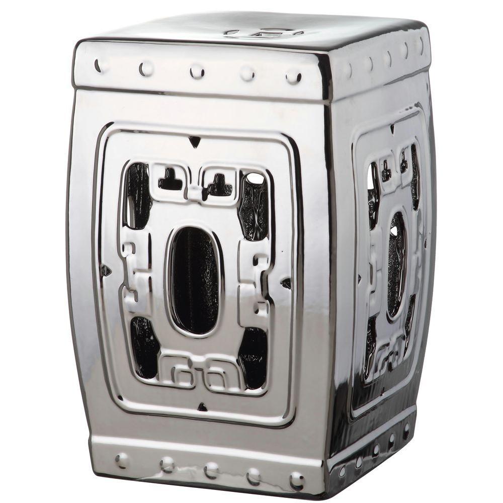 Dynasty Filigree Plated Silver Patio Stool