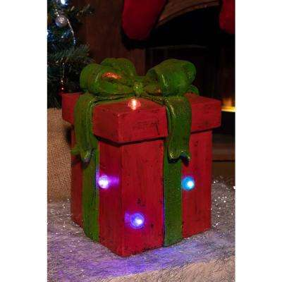 Red Giftbox Statue with Color Changing Led Lights-Tm