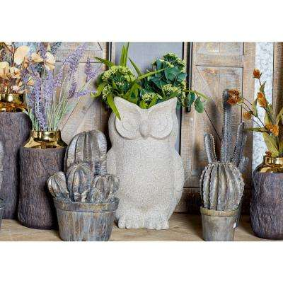 Distressed Gray Fiber Clay Owl Planter