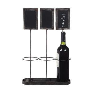 17.25 inch H Distressed Grey Metal Wine Bottle Holder with Chalkboard by