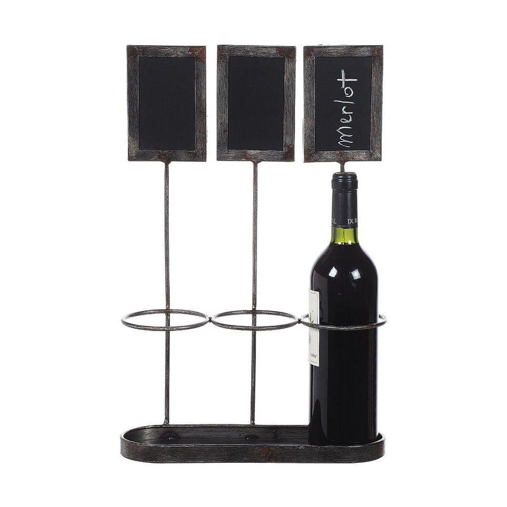 17.25 in. H Distressed Grey Metal Wine Bottle Holder with Chalkboard