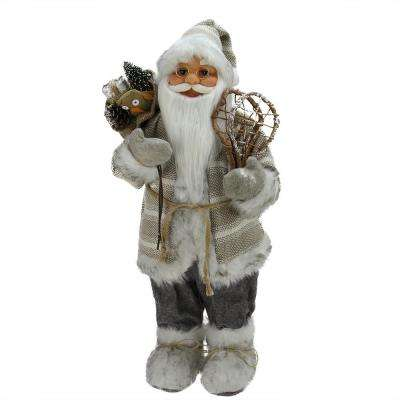 24 in. Alpine Chic Beige and Gray Standing Santa with Snowshoes and Gift Bag
