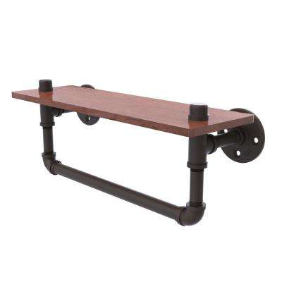 Pipeline Collection 16 in. Ironwood Shelf with Towel Bar in Oil Rubbed Bronze