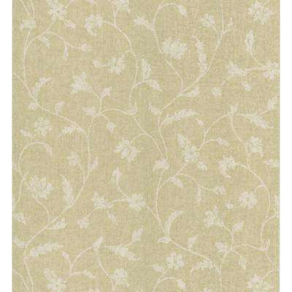 Beige Batik Floral Trail Wallpaper Sample