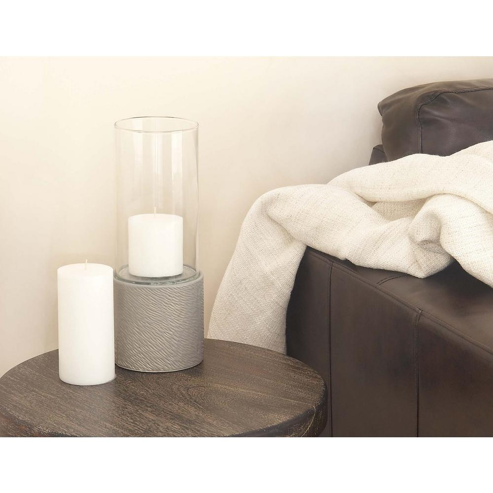 13 in. Gray Ceramic and Clear Glass Hurricane Candle Holder
