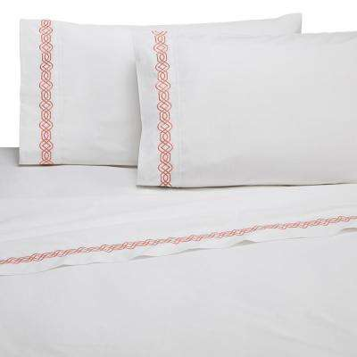 Embroidered Trellis Coral Cotton Twin Sheet Set
