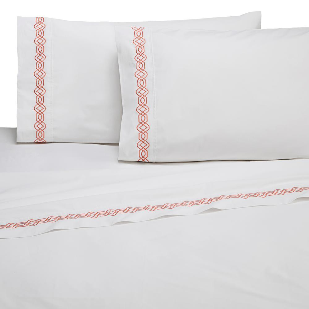 Martex Embroidered Trellis Coral Cotton Twin Sheet Set