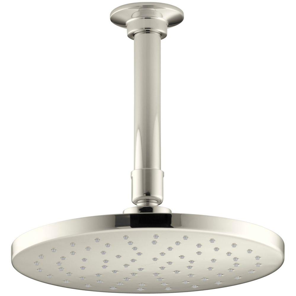 KOHLER 1-spray Single Function 8 in. Contemporary Round Rain Showerhead with Katalyst Spray in Vibrant Polished Nickel