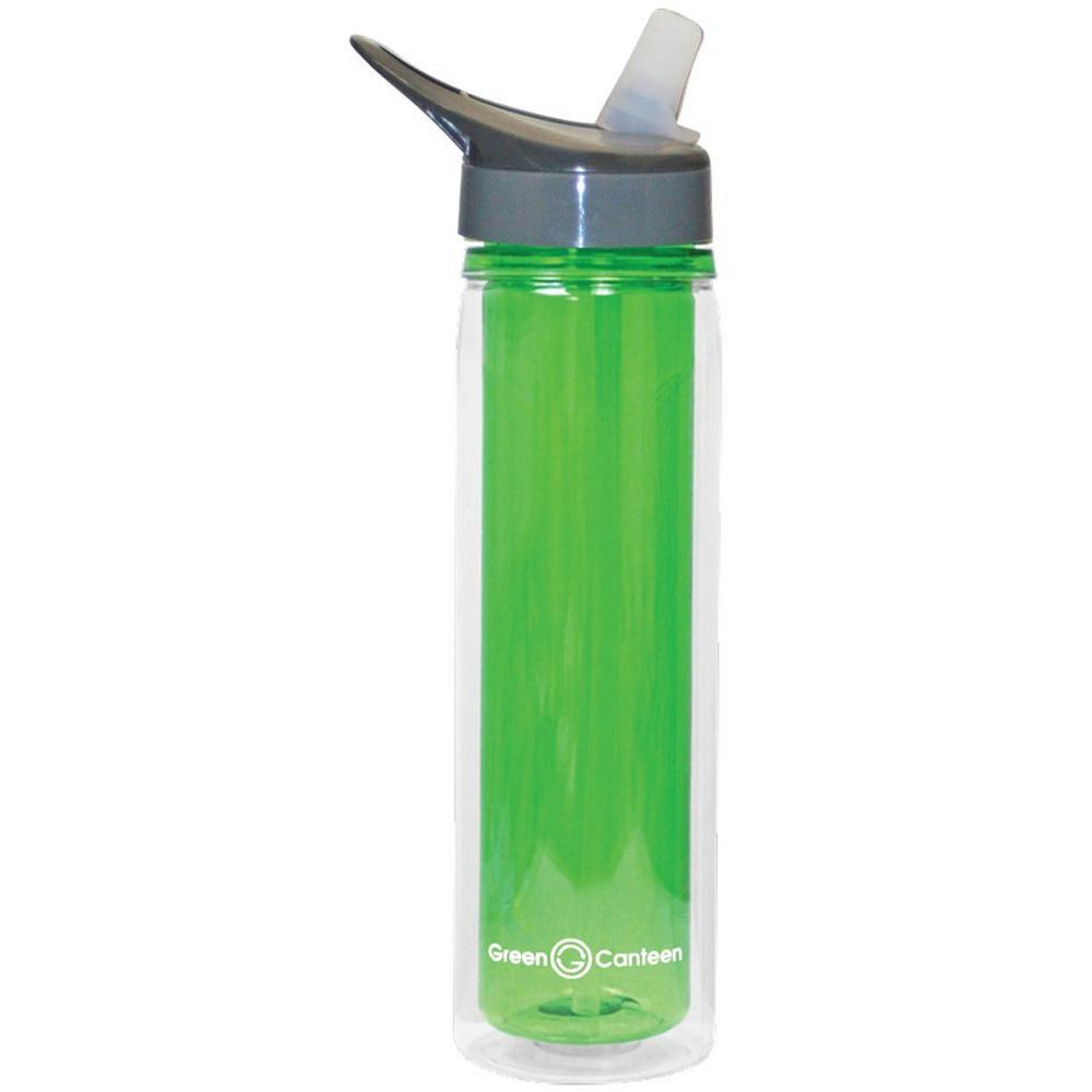 18 oz. Green Double Wall Tritan Plastic Hydration Bottle with Sippy