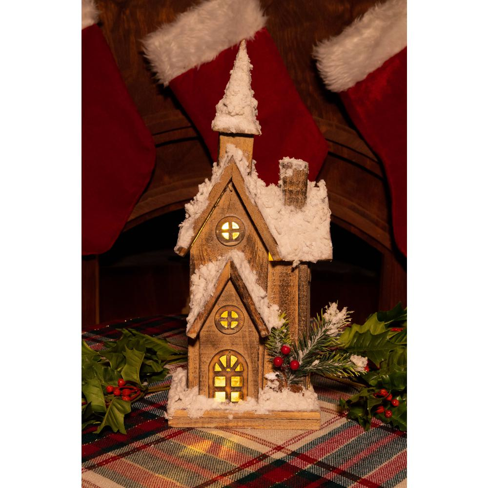 Alpine 16 In. Christmas Wooden House With 10 LED Lights