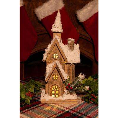 16 in. Christmas Wooden House with 10 LED Lights