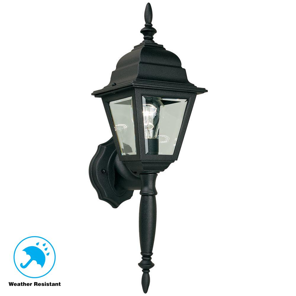 hampton bay 1 light black outdoor wall lamp hb7023p 05 the home depot