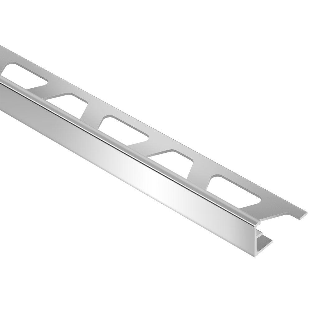 Schluter Jolly Polished Chrome Anodized Aluminum 3/8 in  x 8 ft  2-1/2 in   Metal Tile Edging Trim