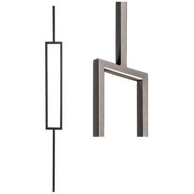 Aalto Modern 44 in. x 0.5 in. Ash Grey Single Rectangle Hollow Wrought Iron Baluster