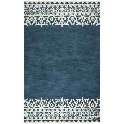 Marianna Fields Blue Border Hand Tufted Wool 9 ft. x 12 ft. Area Rug