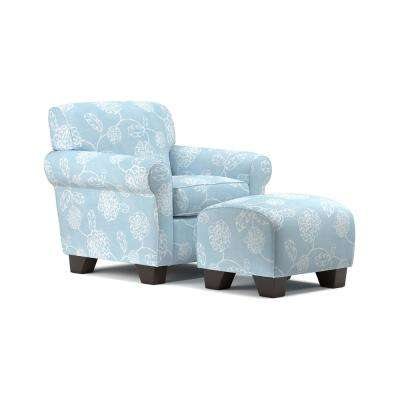Winnetka Arm Chair and Ottoman in Sky Blue and Creamy White Floral
