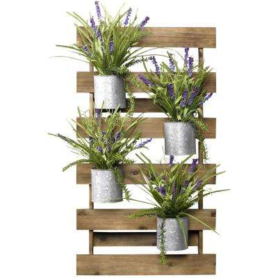 Indoor Wooden Slat Wall with Wild Lavender in Tin Cans