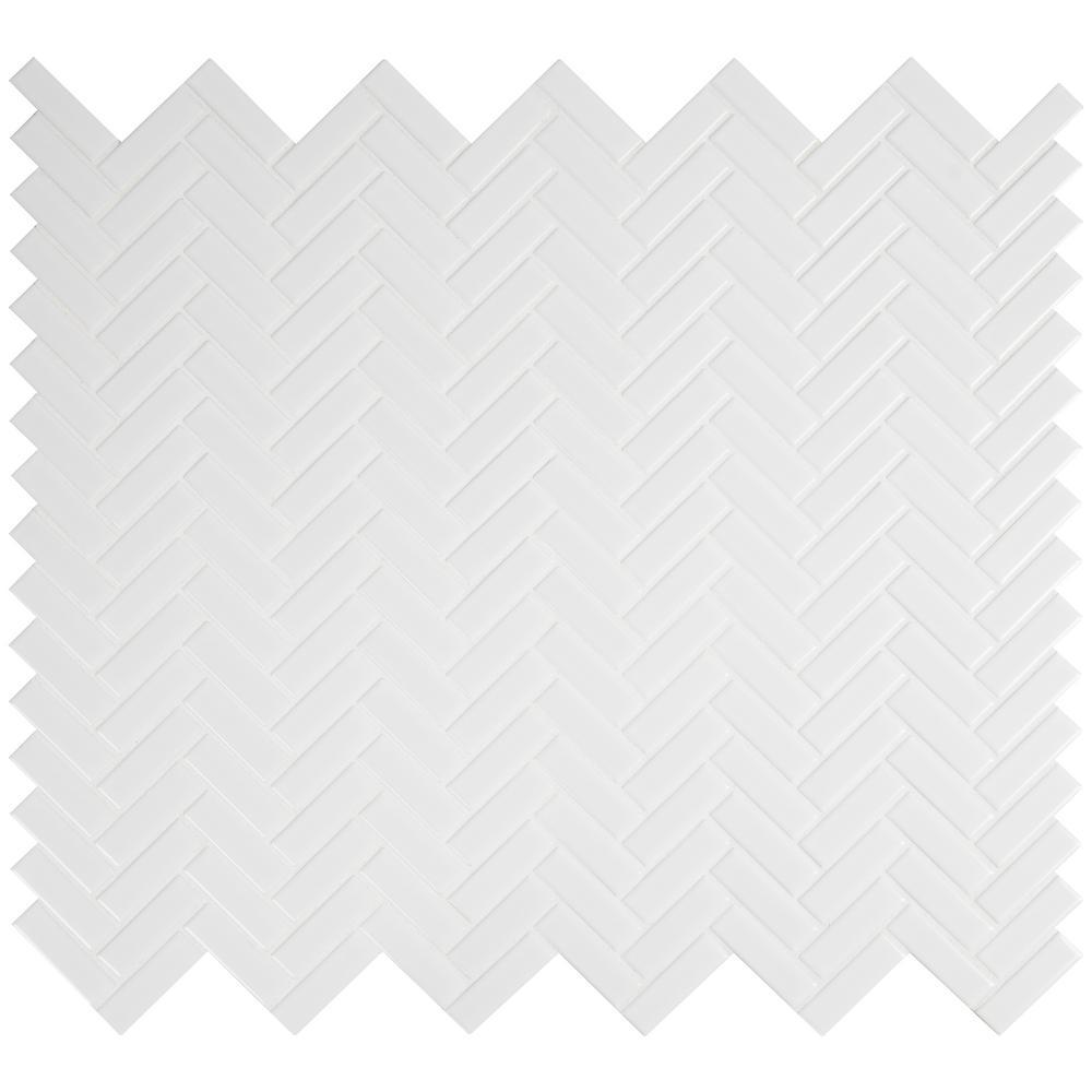 Retro Bianco Herringbone 12.2 in. x 10.83 in. x 6 mm Glossy Porcelain Mesh-Mounted Mosaic Tile (0.92 sq. ft.)