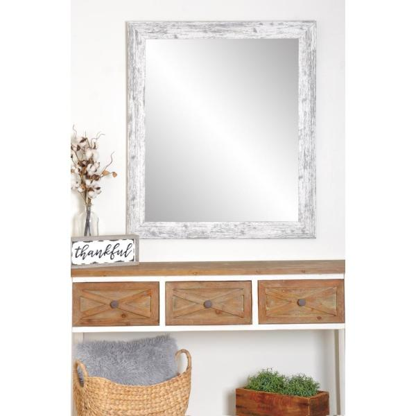 Distressed 32 in. W x 50 in. H Framed Rectangular Bathroom Vanity Mirror in Distressed White