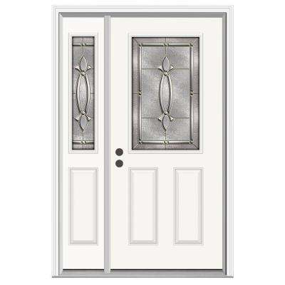 52 in. x 80 in. 1/2 Lite Blakely Primed Steel Prehung Right-Hand Inswing Front Door with Left-Hand Sidelite