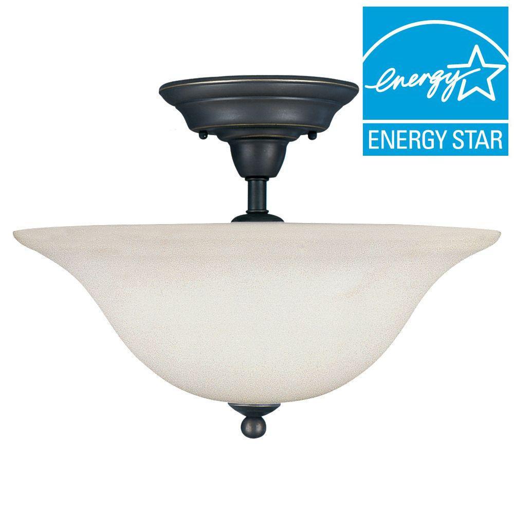 Sea Gull Lighting Sussex 3-Light Heirloom Bronze Semi-Flush Mount Light
