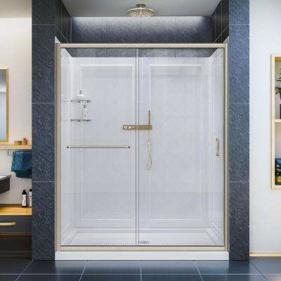 Infinity-Z 32 in. x 60 in. x 76.75 in. Framed Sliding Shower Door in Brushed Nickel with Right Drain Base and Back Walls