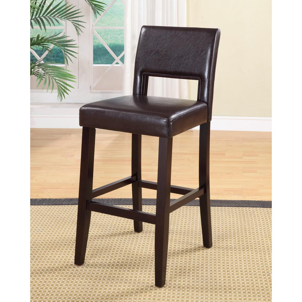 Home Decorators Collection Vega 30 in. Dark Brown Cushioned Bar Stool