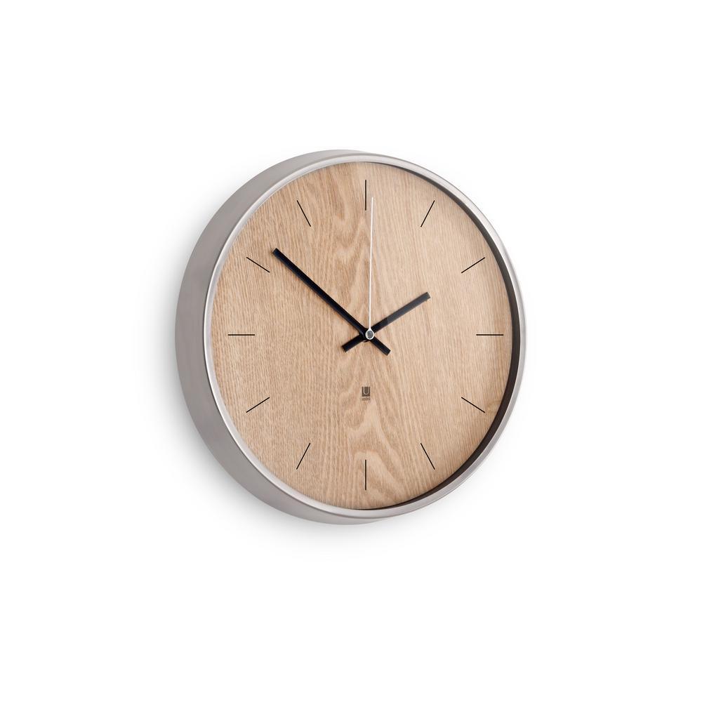 Umbra 12.5 in. Natural/Nickel Madera Wall Clock