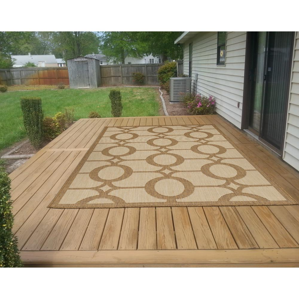 Green Patio Rug 5x7: Ottomanson Jardin Collection Circles Design Natural Beige