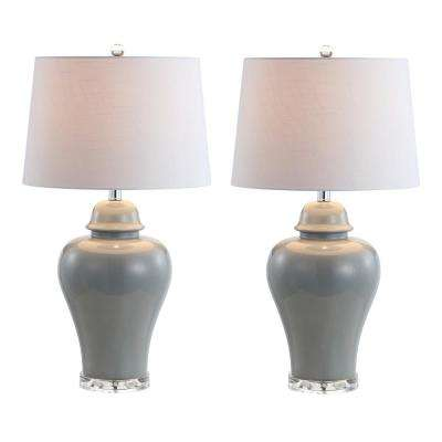 Winnie 27 in. Grey Ceramic Urn LED Table Lamp (Set of 2)