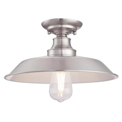 Iron Hill 12 in. 1-Light Brushed Nickel Semi-Flush Mount