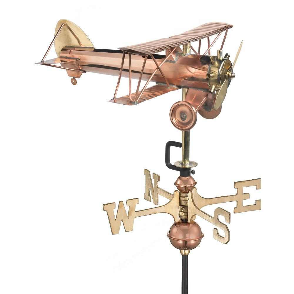 Biplane Cottage Weathervane - Pure Copper with Roof Mount
