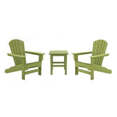 Boca Raton Lime 3-Piece Recycled Plastic Patio Curveback Adirondack Chat Set