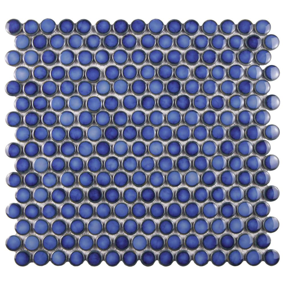 Merola Tile Hudson Penny Round Glossy Sapphire Porcelain Mosaic Tile - 6 in. x 6 in. Tile Sample