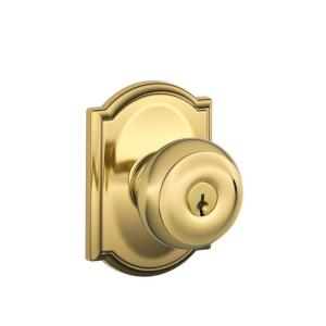 Georgian Bright Brass Keyed Entry Door Knob With Camelot Trim