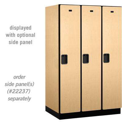 21000 Series Single-Tier 24 in. D 3-Compartments Extra Wide Designer Particle Board Locker in Maple
