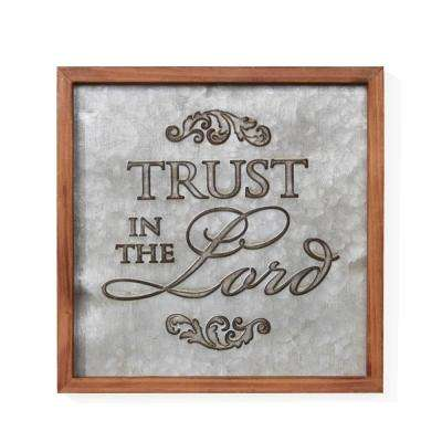 Inspirational Trust in the Lord Framed Metal Art Sign