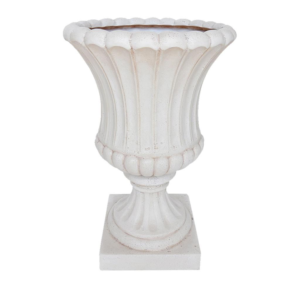 MPG 23 in. H Aged White Cast Stone Fluted Urn