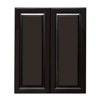 La. Newport Ready to Assemble 36x36x12 in. 1-Door Wall Cabinet with 2-Shelves in Dark Brown