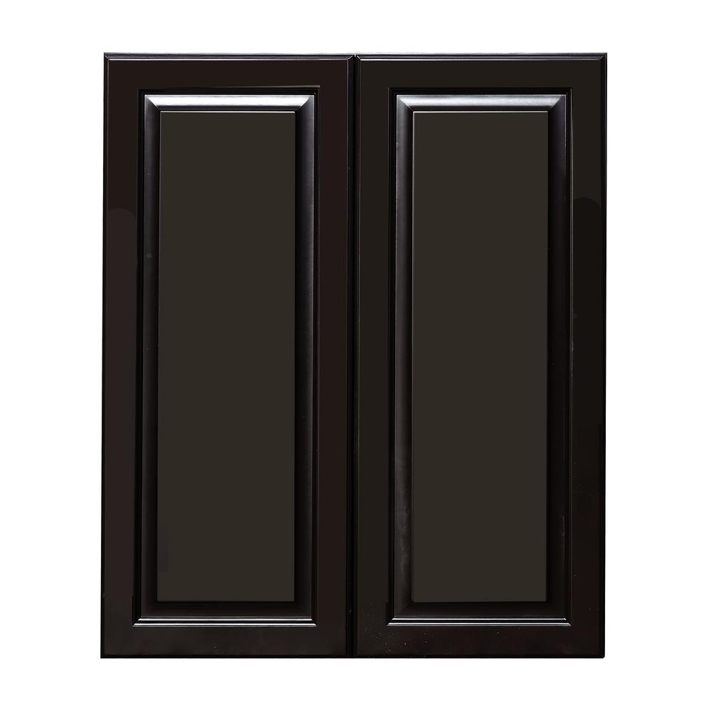 La. Newport Assembled 30x36x12 in. 2-Door Wall Cabinet with 2-Shelves in  Dark Espresso