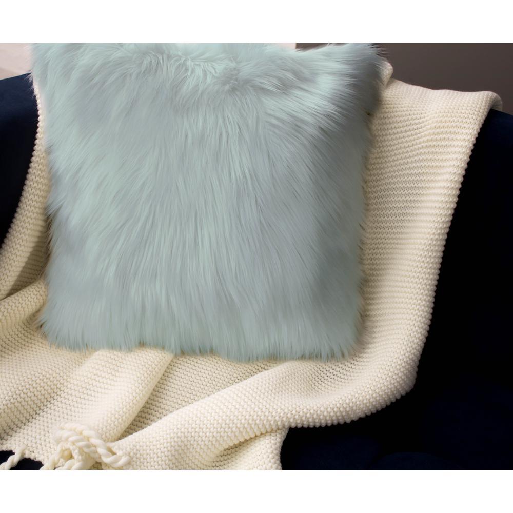 Faux Fur 2-Piece Decorative Pillow Set in Aqua