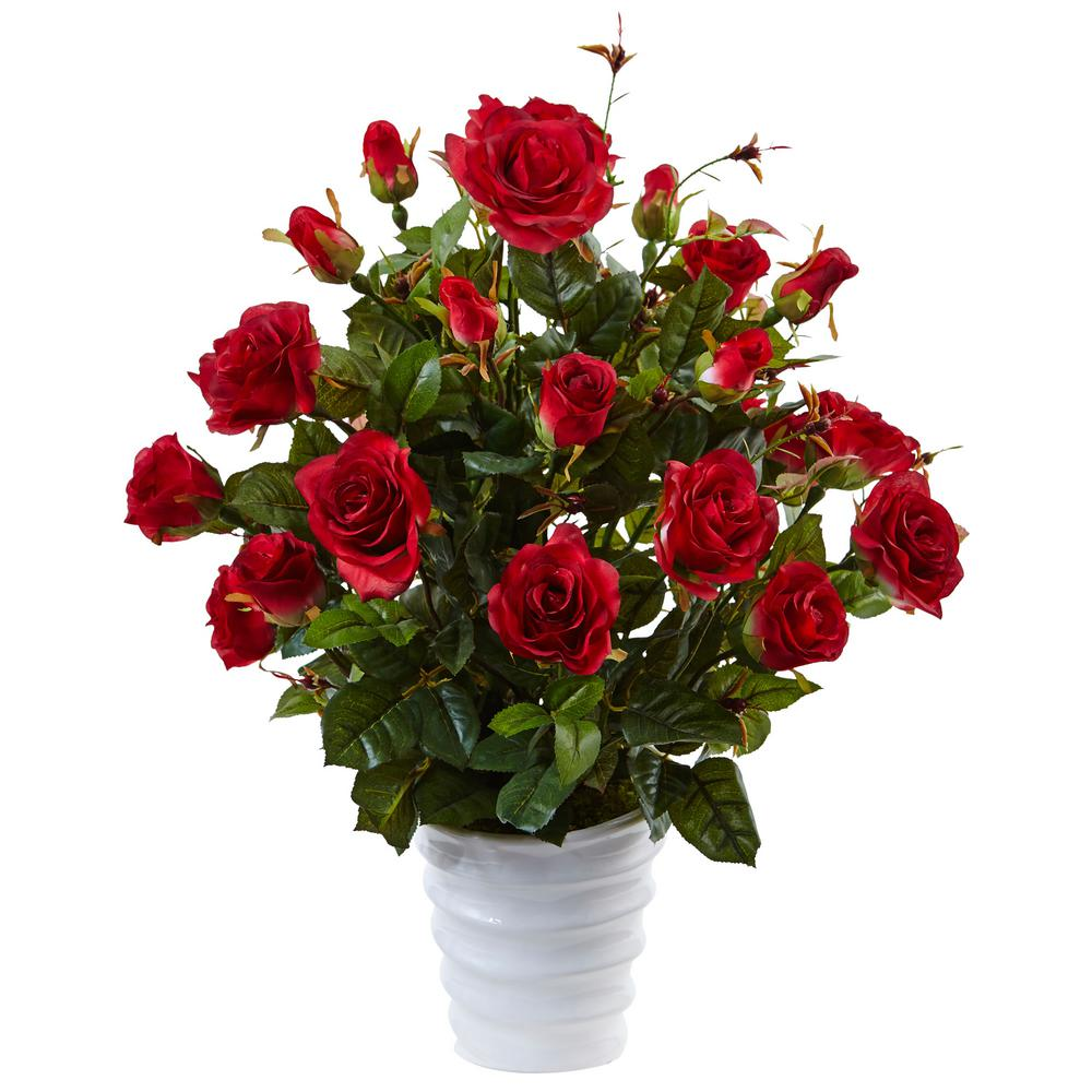 Nearly Natural Rose Bush Silk Arrangement In Red 6984 Rd